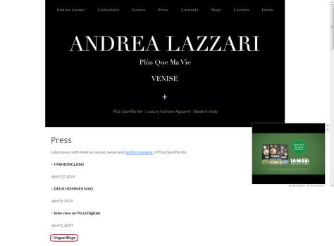 andrea lazzari press page
